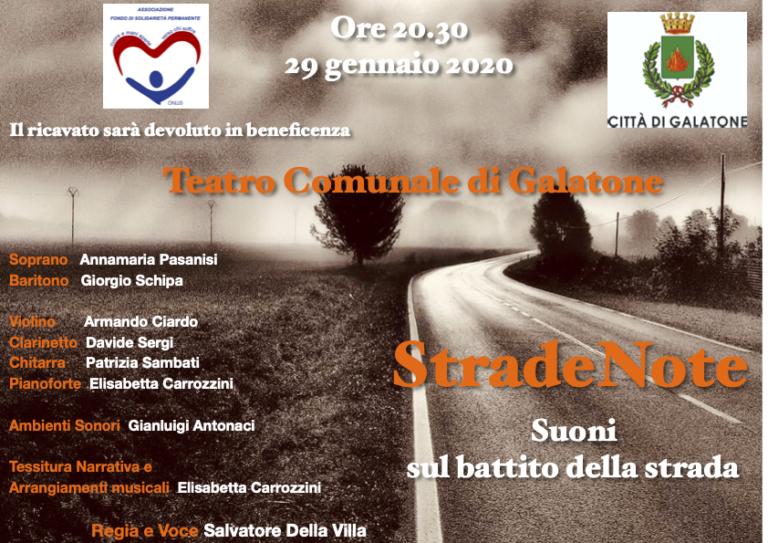 StradeNote – Suoni sul battito della strada Galatone.  Teatro Comunale  29 gennaio 2020  ore 20.30