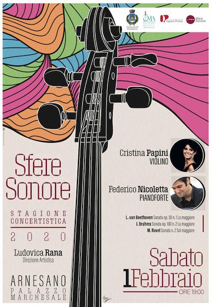 """OMAGGIO A BEETHOVEN Recital per violino e pianoforte Cristina PAPINI e Federico NICOLETTA per la II Stagione Concertistica """"SFERE SONORE"""""""